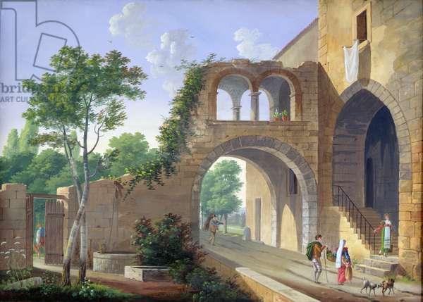 Scene in the Italian countryside, 1813 (gouache on paper)