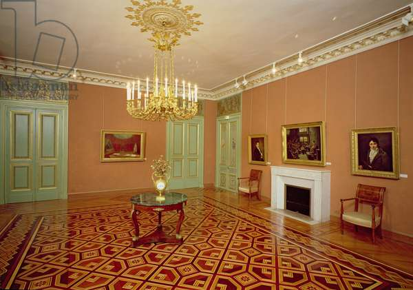 Interior of a salon with marquetry flooring, 18th-19th century (photo)