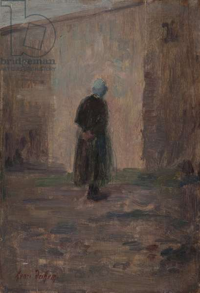 Woman seen from behind standing before a wall (oil on panel)