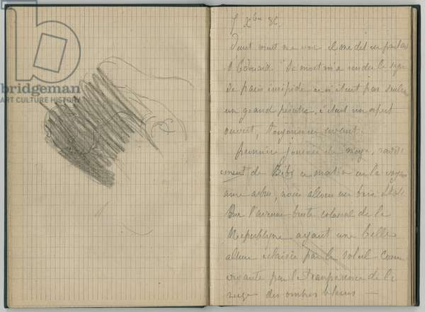 Deleted head of a woman and handwritten page, from a sketchbook, October 1886 (pencil on paper)