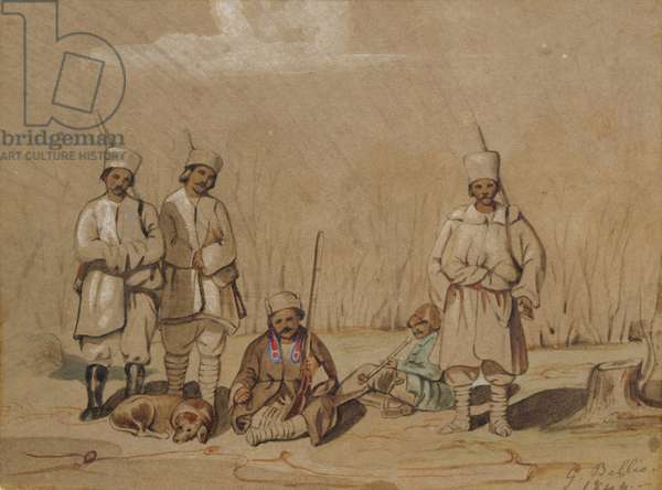 Soldiers Relaxing, 1844 (w/c & gouache on paper)