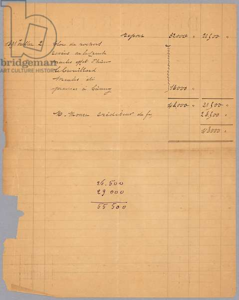 Sales statement of Durand-Ruel regarding Claude Monet, 1891 (ink on paper) (verso for recto see 233969)