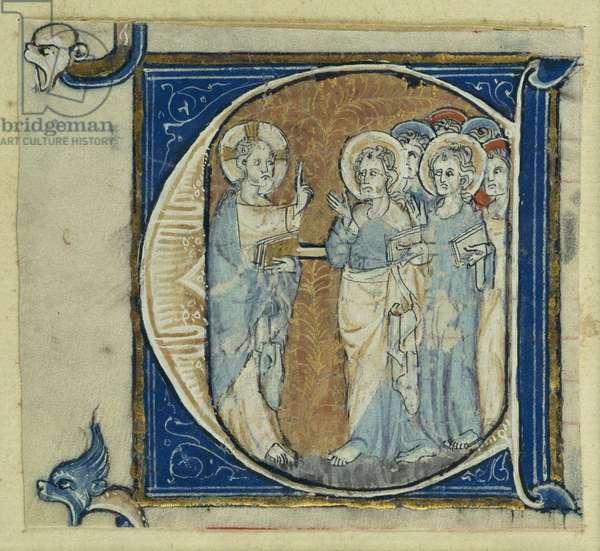 Historiated initial 'E' depicting Jesus Christ and the Apostles, c.1320-30 (vellum)