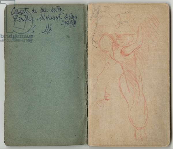 Inside cover and front page from a sketchbook, 'Sketchbook of my mother Berthe Morisot, Mezy, 1890, J. M.' and shepherdess, 1890-92 (coloured pencil on paper)