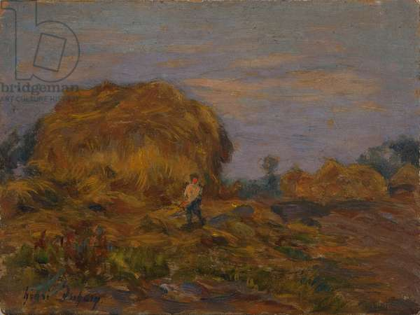 Haystacks (oil on panel)