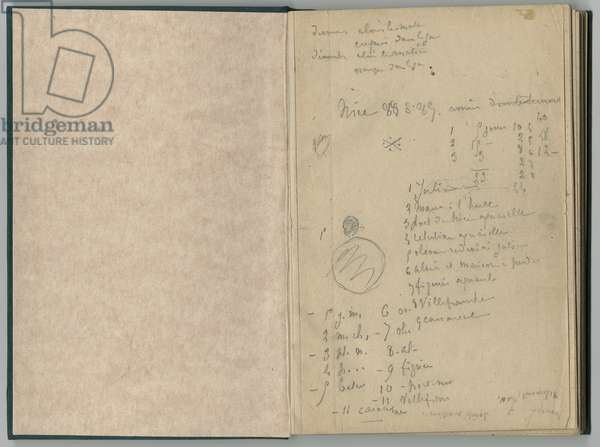 Handwritten page, from a sketchbook, 1888-89 (pencil on paper)