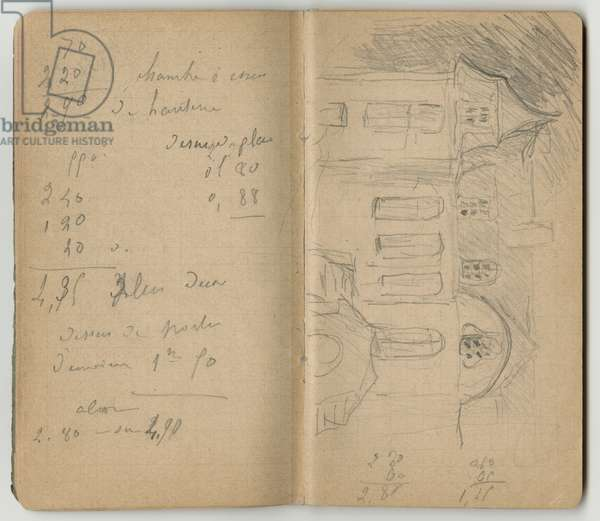 Handwritten page and Chateau Le Mesnil at Juziers, from a sketchbook, Mezy, 1890 (pencil on paper)