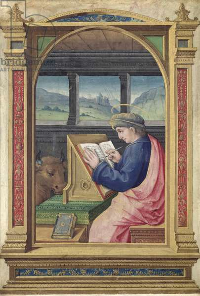 St. Luke Writing, from a Book of Hours (vellum)