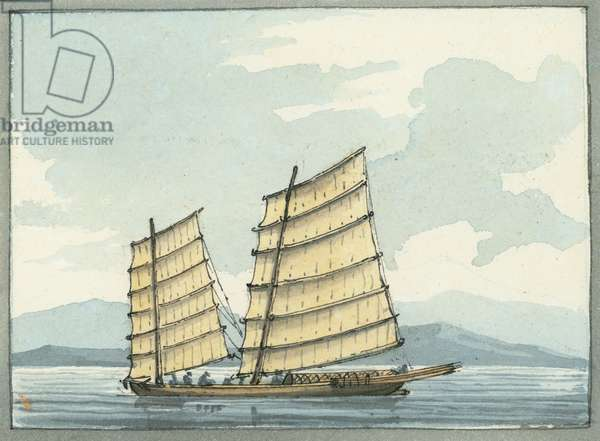 Chinese Pilot boat from Macao, 1809 (w/c)