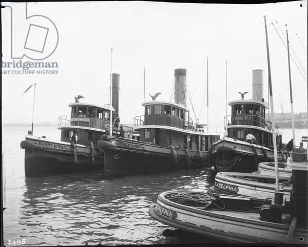 Six tugboats moored together, 1896 (b/w photo)