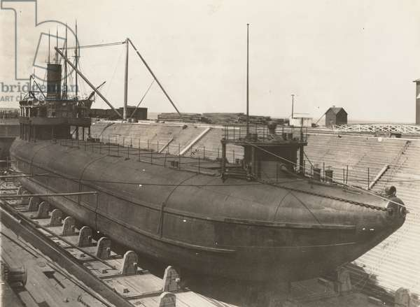 Joseph L. Colby whaleback steamer in dry dock, 1891 (b/w photo)