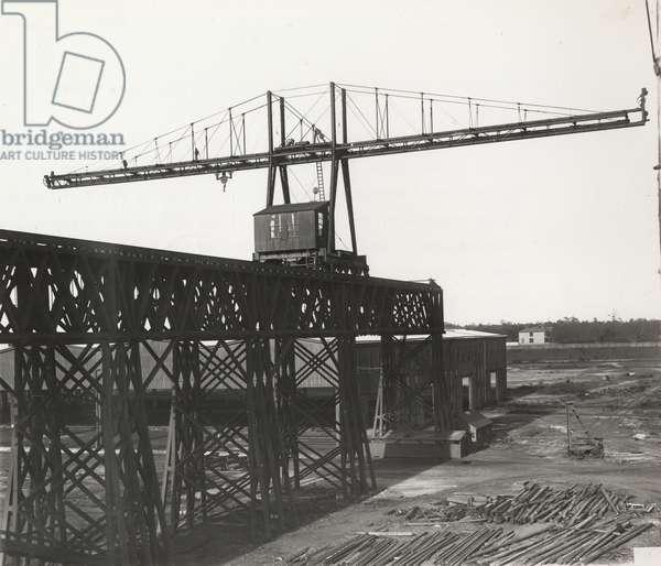 View eastery end of shipway crane trestle, 1895 (b/w photo)