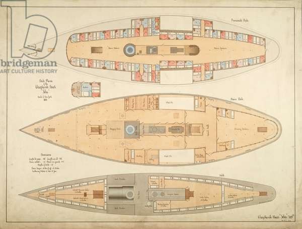 """Deck Plans of the Choptank Boat """"Ida"""", 1881 (architectural drawing)"""