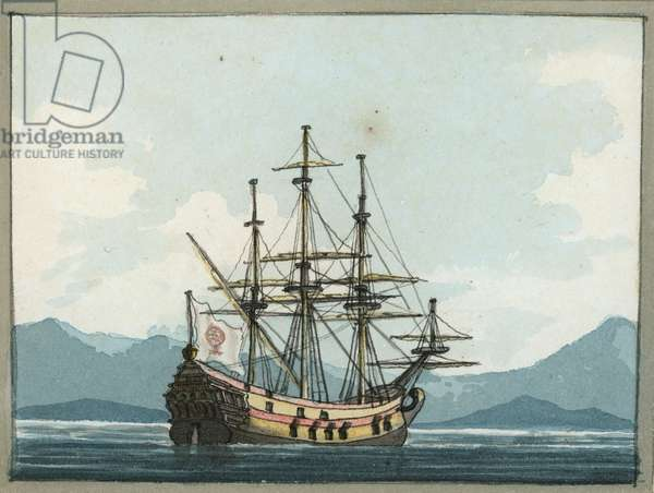 Venetian Galley at Battle of Lepanto, 1809 (w/c)