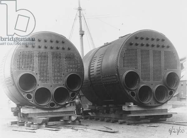 One of two single-end & one of six double-end scotch type boilers, built for the Korea, 1900 (b/w photo)