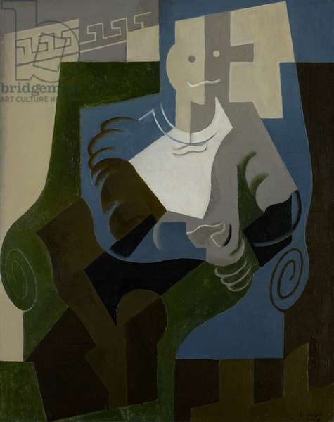 Seated Harlequin, c.1920 (oil on canvas)