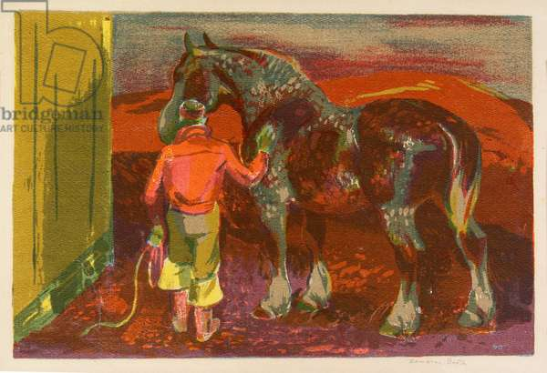 Grooming the Steed, c.1935 (colour screenprint)