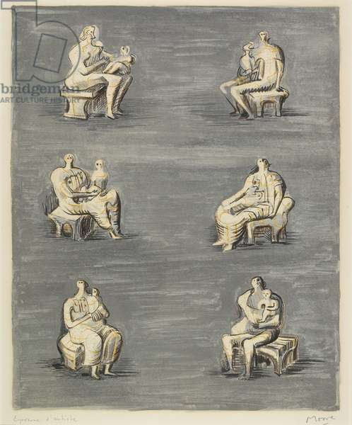 Studies for Sculpture on Blue Grey Background, 1957 (colour litho)