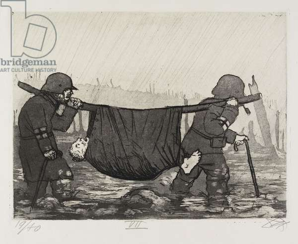 Verwundetentransport im Houthulster Wald (Transport of the Wounded in the Houthulster Wood), plate 47 from Der Krieg (The War), 1924