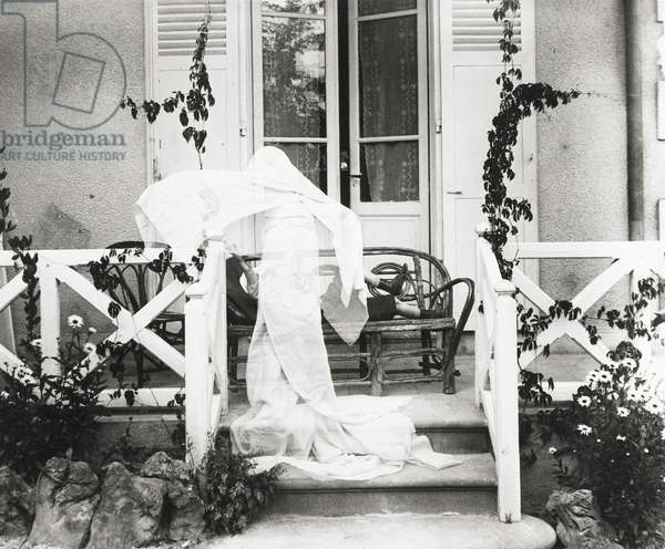 "Zissou Dressed as a Ghost, Villa ""Les Marronniers,"" Chatelguyon, France, 1905 (b/w photo)"