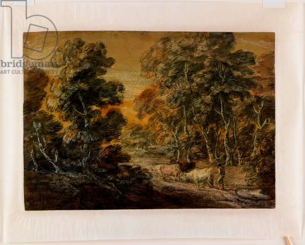 Wooded Landscape with Herdsman and Cattle, c.1770 (black & white chalk, varnished)