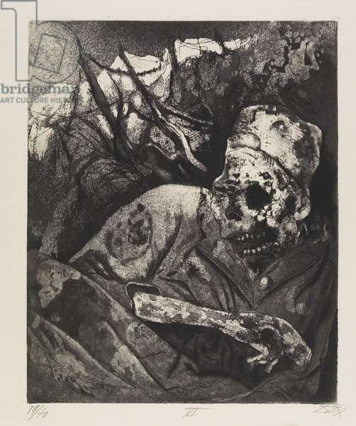 Leiche im Drahtverhau (Flandern) (Corpse in a Wire Entanglement [Flanders]), plate 16 from Der Krieg (The War), 1924