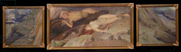 Triptych: Prisoners of the Mountain Mist, c.1910 (oil on canvas)