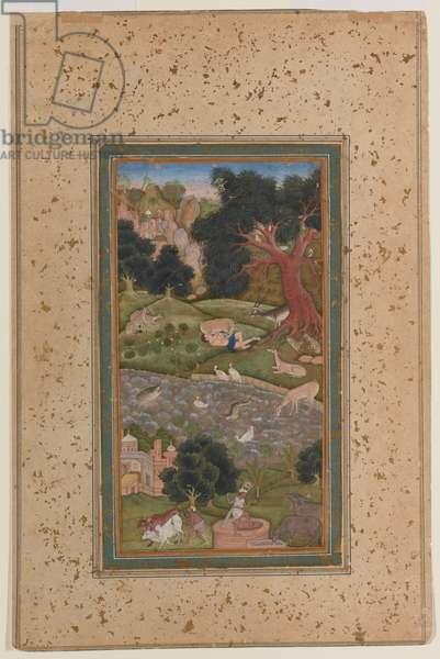 Majnun in the Wilderness, c.1600 (opaque w/c on paper)