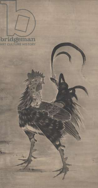 Roosters, Hen, and Chicks, left of a pair, 1795 (ink on paper) (pair to 3742190)
