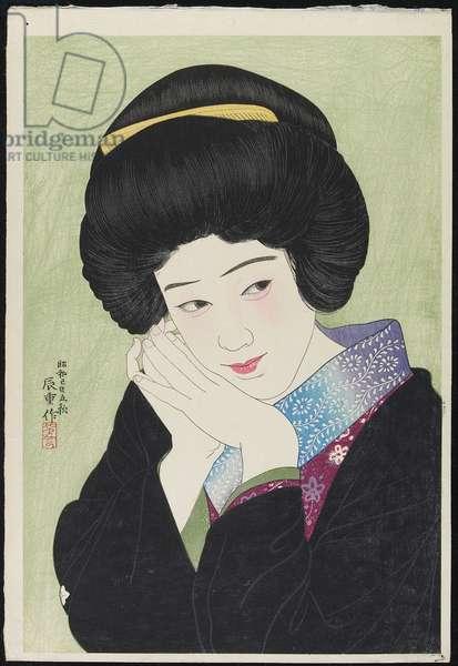 The Actress Sakai Yoneko, August 1929 (colour woodblock print)