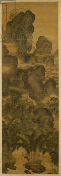 Towering Mountains and Fantastic Waterfalls, c.1600 (ink & colour on silk)