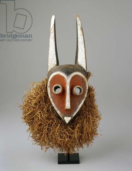 Mbambi Mask, Pende (wood, pigment & rafia)