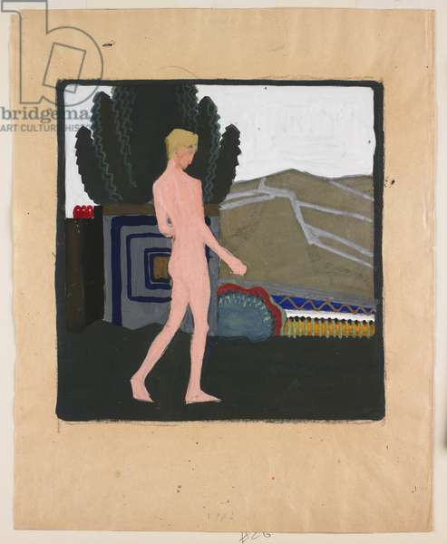 Standing Male Nude in a Landscape, c.1914 (gouache on paper)