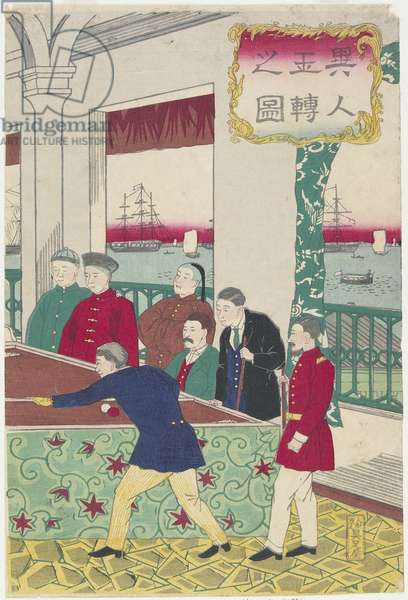 Foreigners at Billiard Game, late 19th century