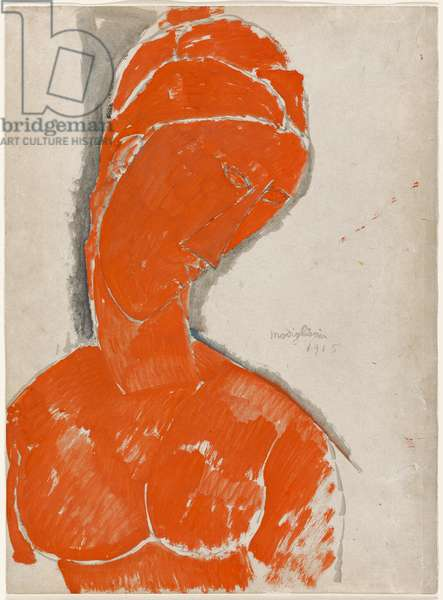 Female Bust in Red, 1915 (red gouache & black ink wash on paper)