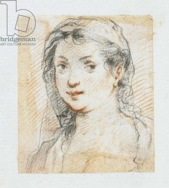 Head of a Woman (black & red chalk)