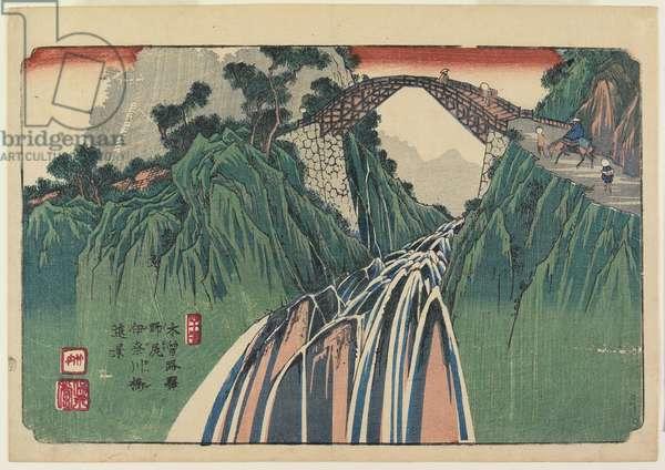 No. 41, Nojiri: Distant View of the Ina River Bridge, 1835-38 (colour woodblock print)