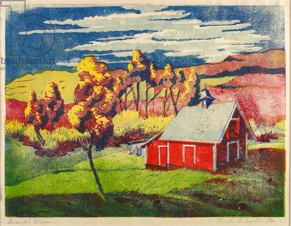 Gramp's Barn (colour linocut)