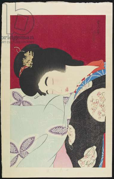 Napping, February 1933 (colour woodblock print)