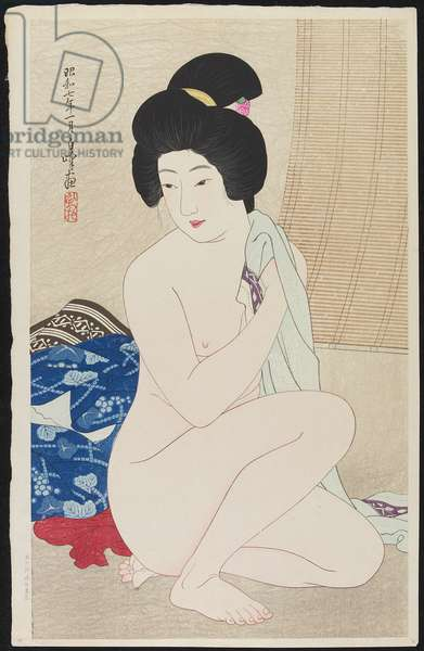After Bath, January 1932 (colour woodblock print)