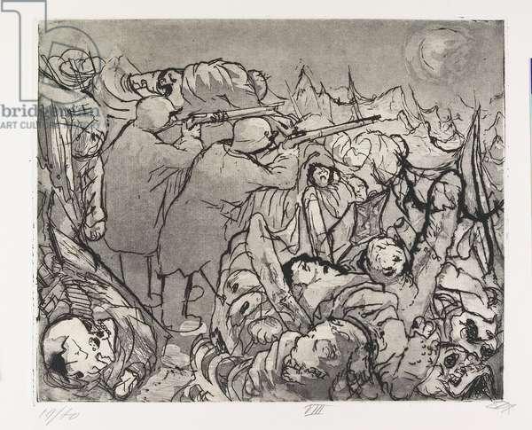 Die Sappenposten haben nachts das Feuer zu unterhalten (The Trench Sentries Must Maintain the Fire During the Night), plate 48 from Der Krieg (The War), 1924