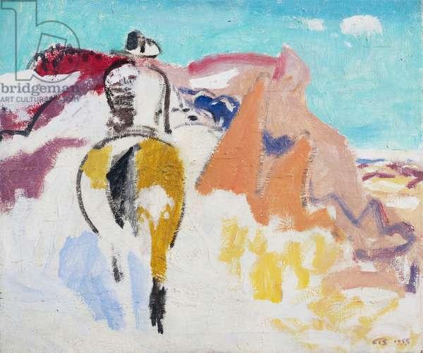 Badlands Rider, 1955 (oil on canvas)