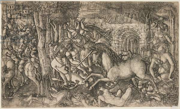 A King Pursued by a Unicorn, c.1547 (engraving)