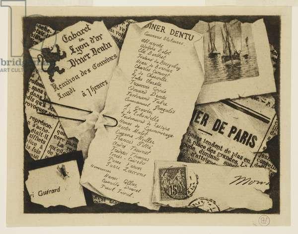 Un Morceau de Journal, une Enveloppe et une Mouche, 19th century (etching & drypoint)