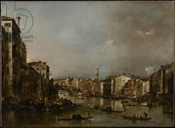 View up the Grand Canal Toward the Rialto, c.1785 (oil on canvas)