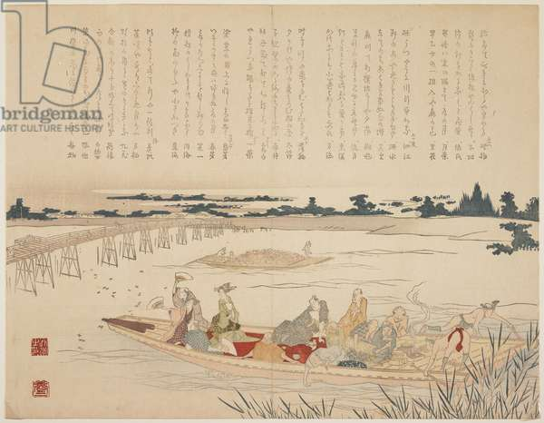Firefly Viewing Party, c.1818-29 (colour woodblock print, karazuri on river part)