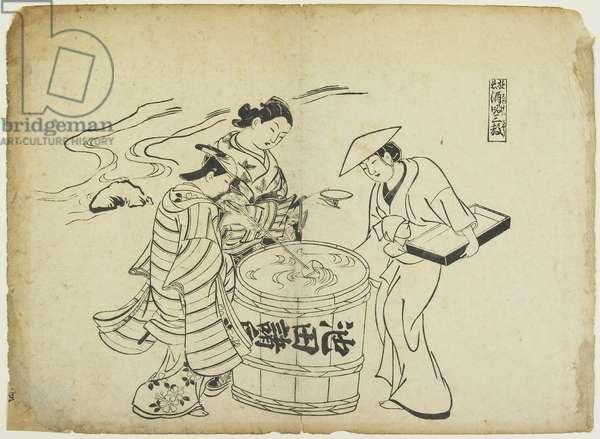 Three Sake Tasters. 1710