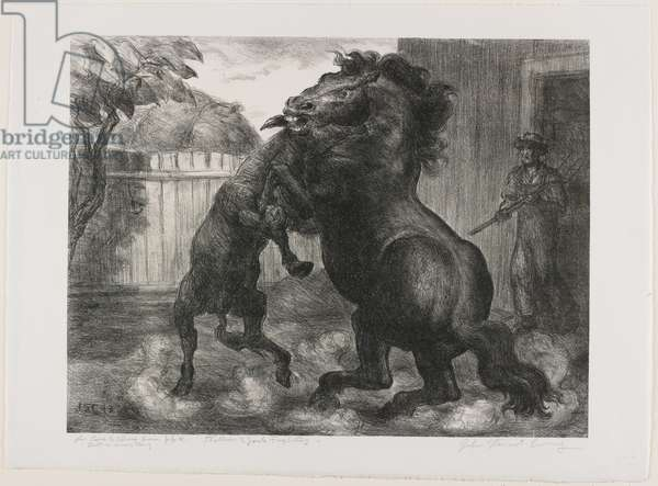 Stallion and Jack Fighting, 1943 (litho)