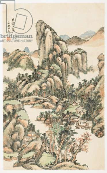 Mountain Color on Mount Liangchang, from an album of 12 leaves, 1723 (ink & colour on paper)