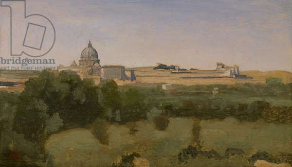 View of St. Peter's, Rome, 1826 (oil on paper mounted on canvas)